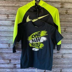 Boys Nike Dri-Fit Hoodie and Athletic Cut Tee M